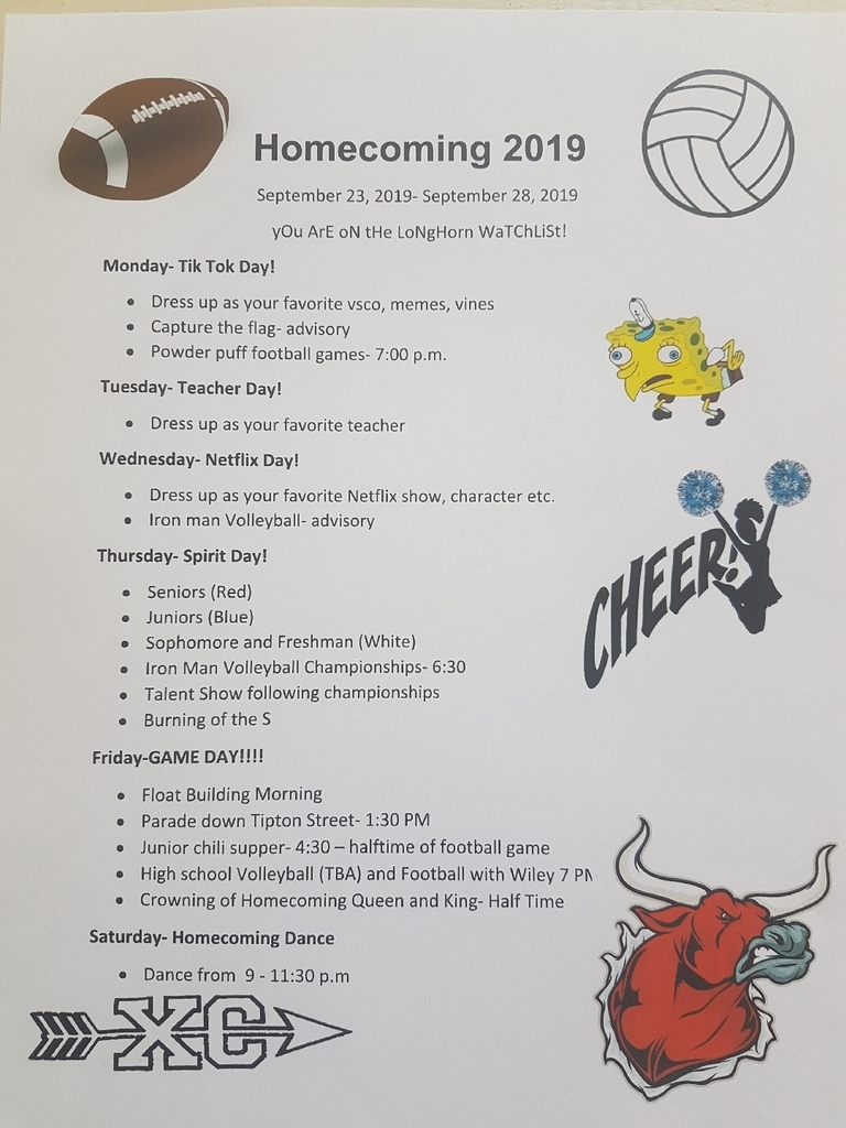 SHS Homecoming Schedule